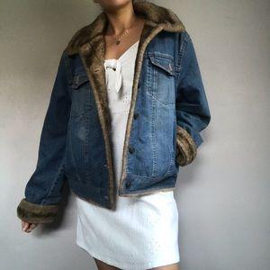 Vintage Marvin Richards Denim Jean Jacket Faux Fur
